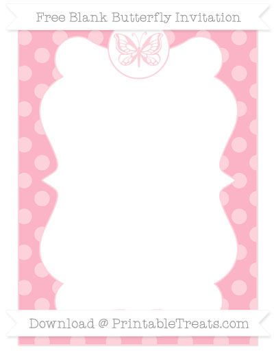 Free Pastel Light Pink Dotted Pattern Blank Butterfly Invitation