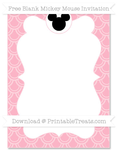 Free Pastel Light Pink Fish Scale Pattern Blank Mickey Mouse Invitation