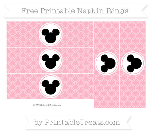 Free Pastel Light Pink Fish Scale Pattern Mickey Mouse Napkin Rings