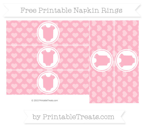 Free Pastel Light Pink Heart Pattern Baby Onesie Napkin Rings