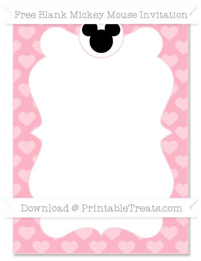 Free Pastel Light Pink Heart Pattern Blank Mickey Mouse Invitation