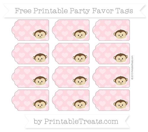Free Pastel Light Pink Heart Pattern Boy Monkey Party Favor Tags