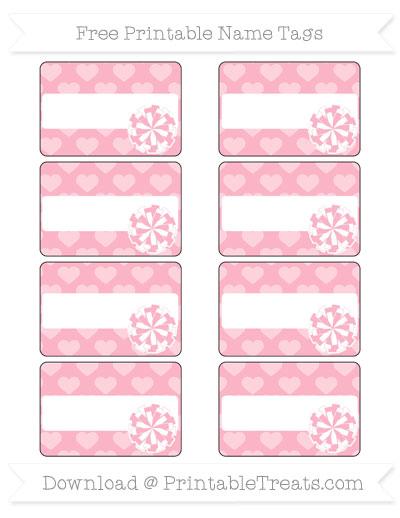 Free Pastel Light Pink Heart Pattern Cheer Pom Pom Tags