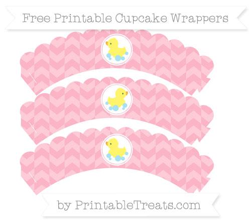 Free Pastel Light Pink Herringbone Pattern Baby Duck Scalloped Cupcake Wrappers