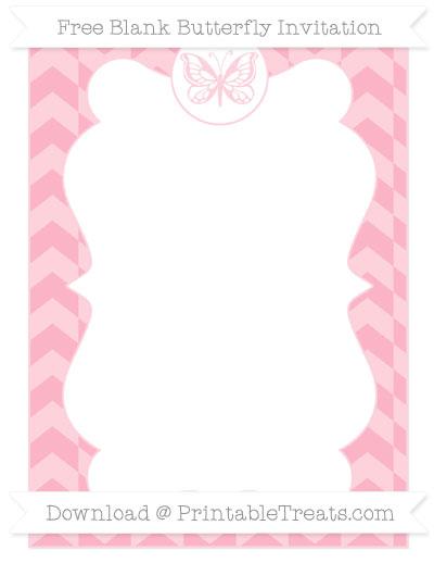 Free Pastel Light Pink Herringbone Pattern Blank Butterfly Invitation