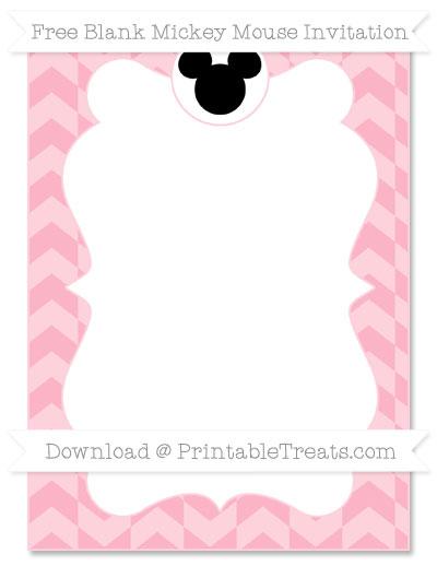 Free Pastel Light Pink Herringbone Pattern Blank Mickey Mouse Invitation