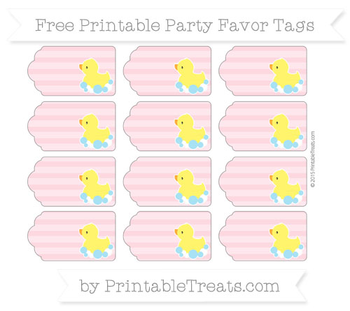 Free Pastel Light Pink Horizontal Striped Baby Duck Party Favor Tags