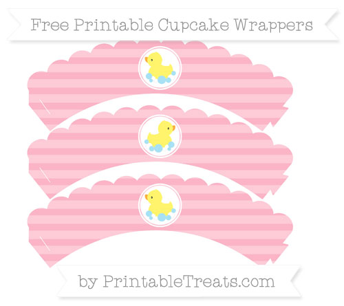 Free Pastel Light Pink Horizontal Striped Baby Duck Scalloped Cupcake Wrappers