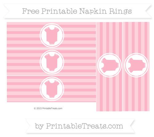 Free Pastel Light Pink Horizontal Striped Baby Onesie Napkin Rings