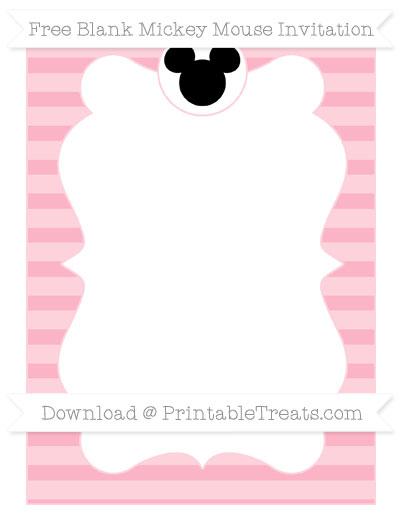 Free Pastel Light Pink Horizontal Striped Blank Mickey Mouse Invitation