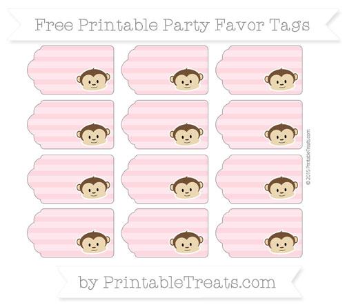 Free Pastel Light Pink Horizontal Striped Boy Monkey Party Favor Tags