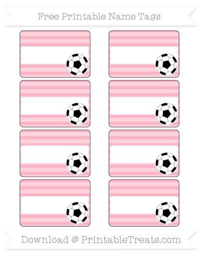 Free Pastel Light Pink Horizontal Striped Soccer Name Tags