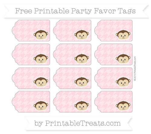 Free Pastel Light Pink Houndstooth Pattern Boy Monkey Party Favor Tags