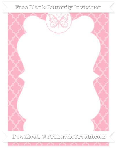 Free Pastel Light Pink Moroccan Tile Blank Butterfly Invitation
