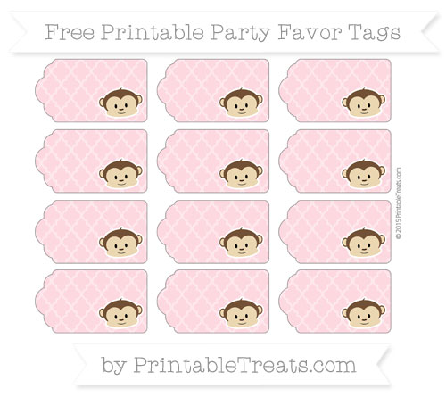Free Pastel Light Pink Moroccan Tile Boy Monkey Party Favor Tags
