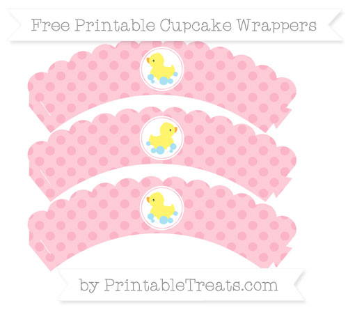 Free Pastel Light Pink Polka Dot Baby Duck Scalloped Cupcake Wrappers
