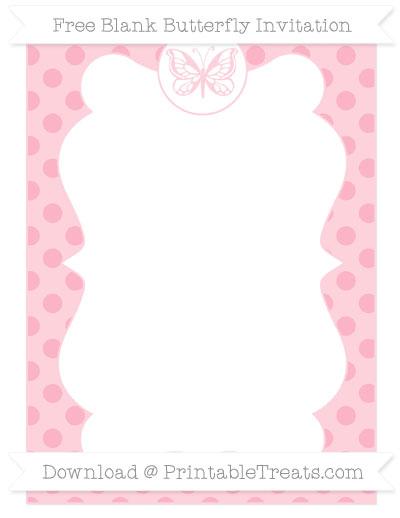 Free Pastel Light Pink Polka Dot Blank Butterfly Invitation