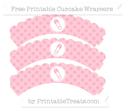 Free Pastel Light Pink Polka Dot Diaper Pin Scalloped Cupcake Wrappers