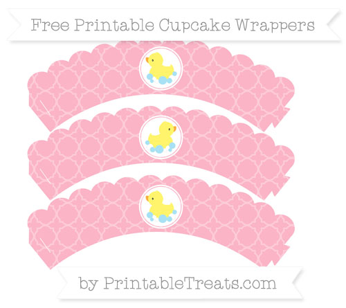 Free Pastel Light Pink Quatrefoil Pattern Baby Duck Scalloped Cupcake Wrappers