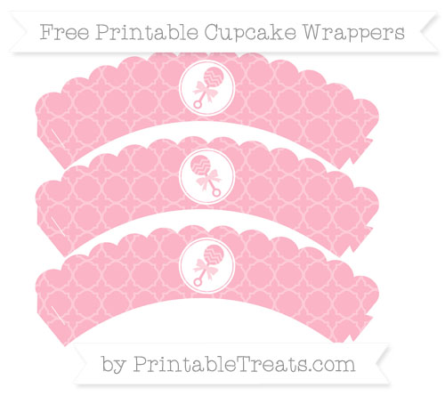Free Pastel Light Pink Quatrefoil Pattern Baby Rattle Scalloped Cupcake Wrappers