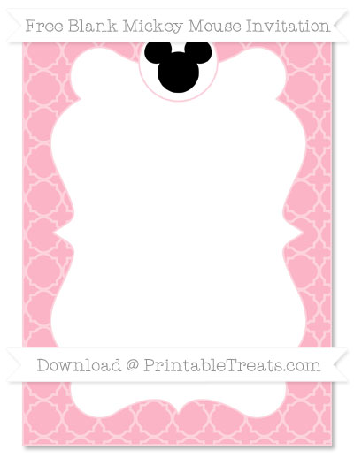 Free Pastel Light Pink Quatrefoil Pattern Blank Mickey Mouse Invitation