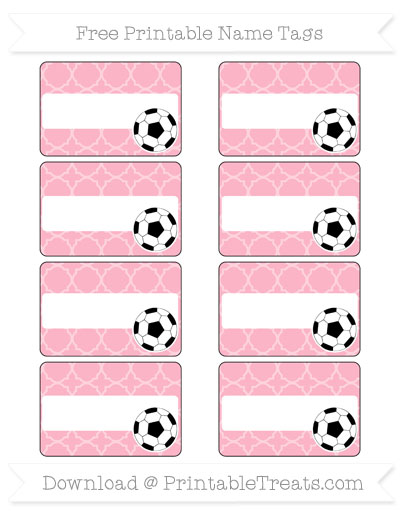 Free Pastel Light Pink Quatrefoil Pattern Soccer Name Tags