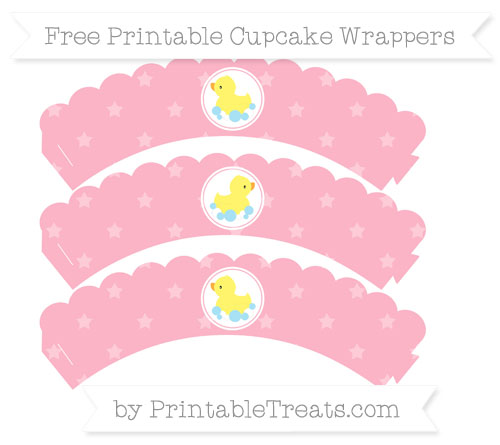 Free Pastel Light Pink Star Pattern Baby Duck Scalloped Cupcake Wrappers