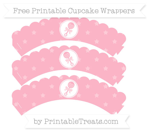 Free Pastel Light Pink Star Pattern Baby Rattle Scalloped Cupcake Wrappers