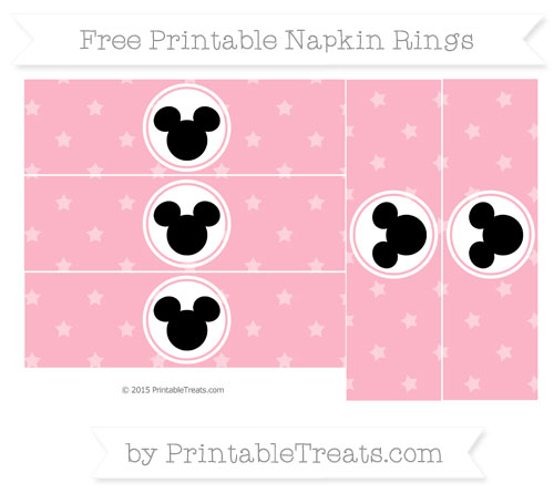 Free Pastel Light Pink Star Pattern Mickey Mouse Napkin Rings