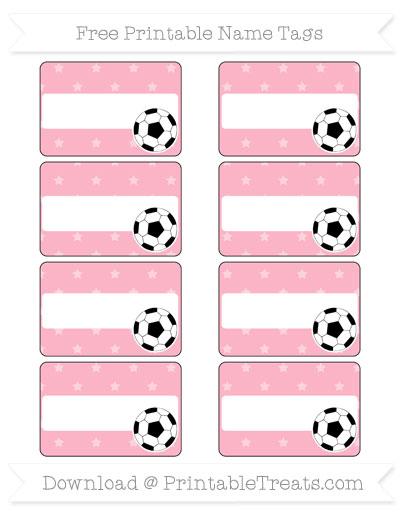 Free Pastel Light Pink Star Pattern Soccer Name Tags
