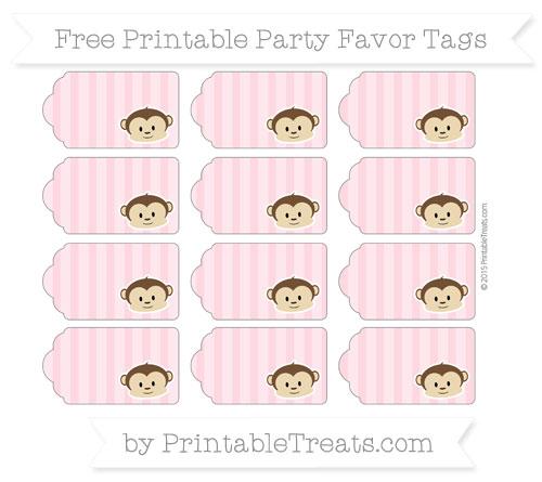 Free Pastel Light Pink Striped Boy Monkey Party Favor Tags