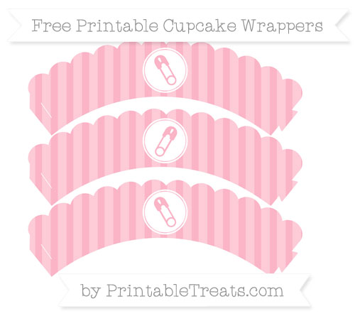 Free Pastel Light Pink Striped Diaper Pin Scalloped Cupcake Wrappers