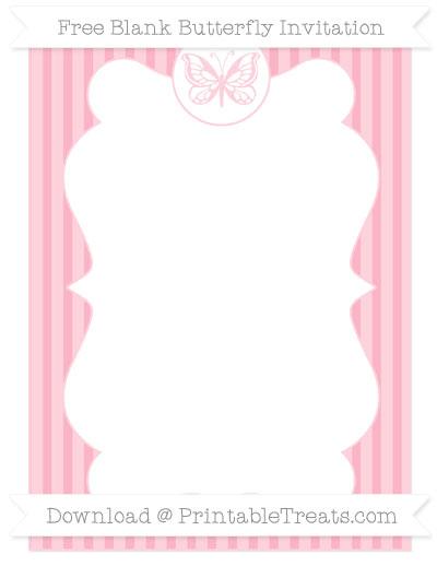 Free Pastel Light Pink Thin Striped Pattern Blank Butterfly Invitation