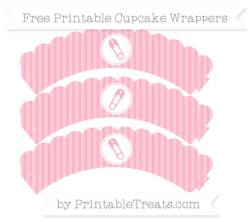 Free Pastel Light Pink Thin Striped Pattern Diaper Pin Scalloped Cupcake Wrappers