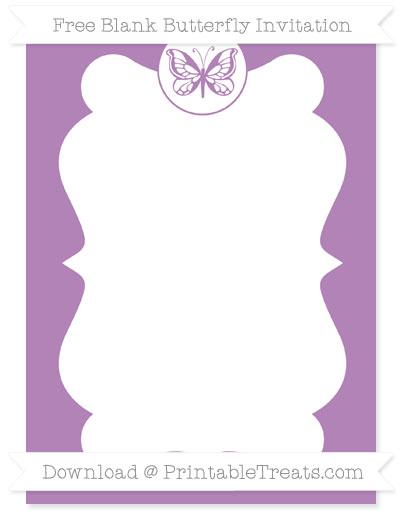 Free Pastel Light Plum Blank Butterfly Invitation