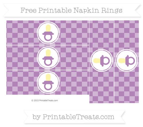 Free Pastel Light Plum Checker Pattern Baby Pacifier Napkin Rings