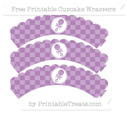 Free Pastel Light Plum Checker Pattern Baby Rattle Scalloped Cupcake Wrappers