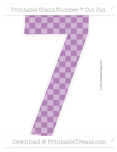 Free Pastel Light Plum Checker Pattern Giant Number 7 Cut Out