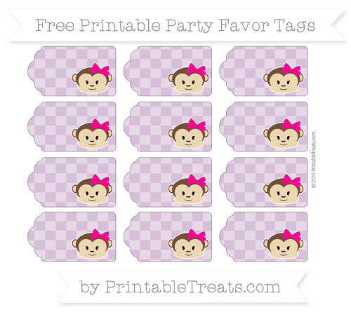 Free Pastel Light Plum Checker Pattern Girl Monkey Party Favor Tags