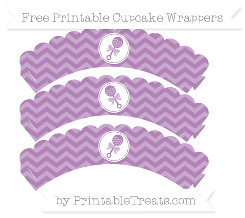 Free Pastel Light Plum Chevron Baby Rattle Scalloped Cupcake Wrappers