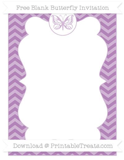 Free Pastel Light Plum Chevron Blank Butterfly Invitation