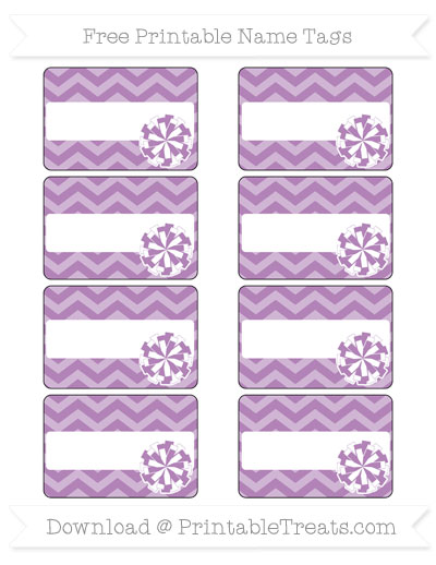 Free Pastel Light Plum Chevron Cheer Pom Pom Tags