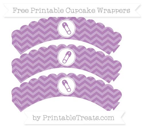 Free Pastel Light Plum Chevron Diaper Pin Scalloped Cupcake Wrappers