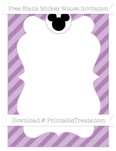 Free Pastel Light Plum Diagonal Striped Blank Mickey Mouse Invitation
