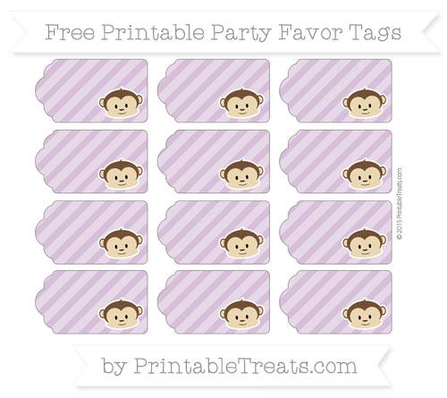 Free Pastel Light Plum Diagonal Striped Boy Monkey Party Favor Tags