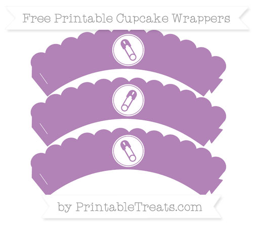 Free Pastel Light Plum Diaper Pin Scalloped Cupcake Wrappers