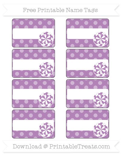 Free Pastel Light Plum Dotted Pattern Cheer Pom Pom Tags