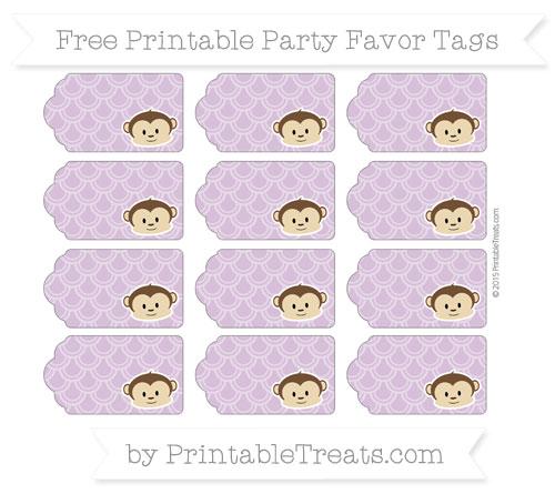 Free Pastel Light Plum Fish Scale Pattern Boy Monkey Party Favor Tags