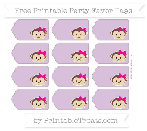 Free Pastel Light Plum Girl Monkey Party Favor Tags