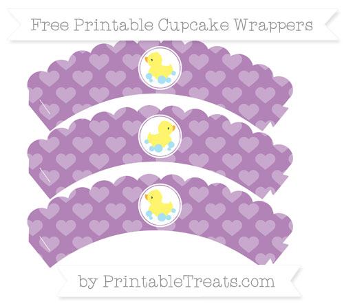 Free Pastel Light Plum Heart Pattern Baby Duck Scalloped Cupcake Wrappers